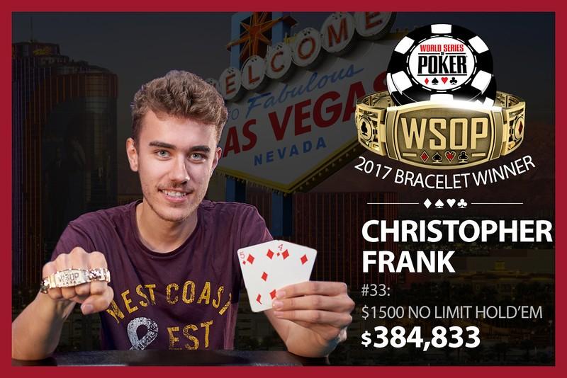 Chris Frank Wins 2017 World Series of Poker $1,500 No-Limit Hold'em