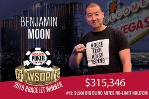 Benjamin Moon Wins 2018 WSOP $1,500 No-Limit Hold'em Big Blind Ante Event