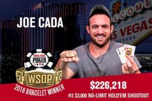 Joe Cada Wins 2018 World Series of Poker $3,000 No-Limit Hold'em Shootout